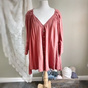 FREE PEOPLE Rust Crochet Trimmed Mini Dress Tunic